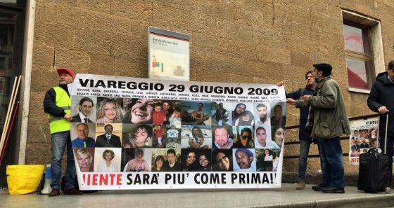 Presidio familiari vittime disastro ferroviario Viareggio