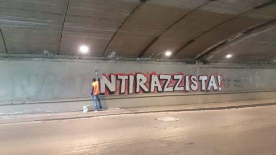 """""""A chi dava noia la scritta 'Zona Antirazzista!' nel sottopasso di via Circondaria?"""""""