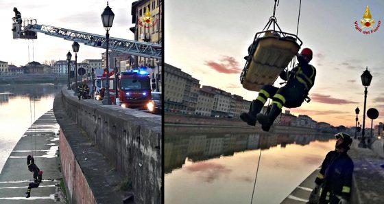Ragazzo cade in Arno dai Lungarni di Pisa