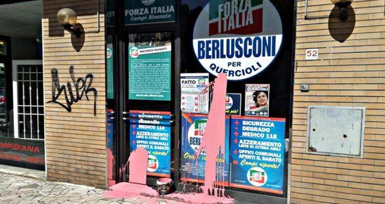 Imbrattata con vernice rosa sede elettorale Forza Italia