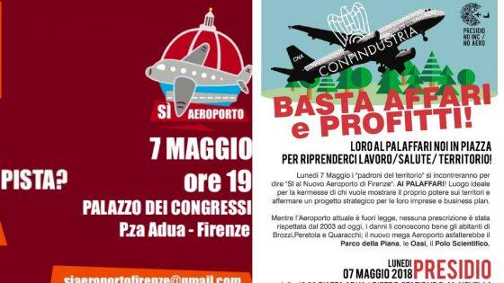 Aeroporto Firenze: nuova pista, i Sì dentro il Palaffari e i No in piazza