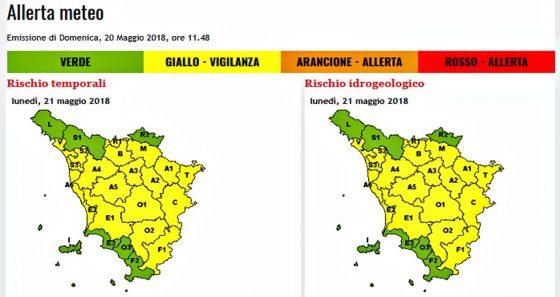 Allerta gialla per temporali e rischio idrogeologico