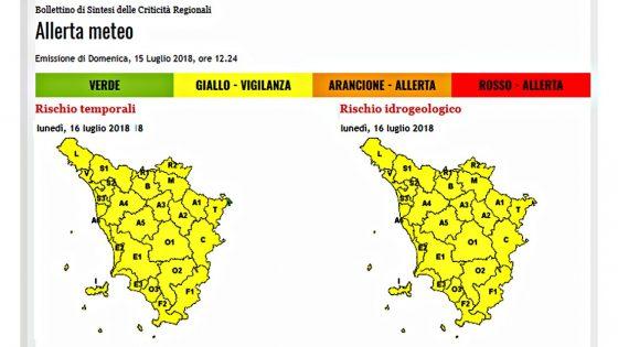 Lunedì allerta gialla per rischio idrogeologico