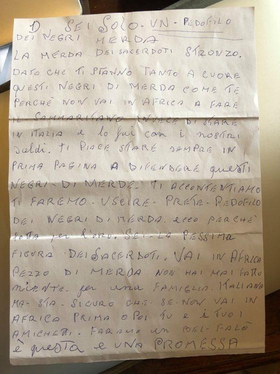 Due lettere con minacce e frasi razziste a parroco Vicofaro