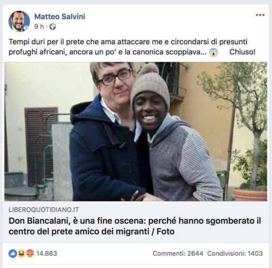 Diffamazione e calunnia: Don Biancalani querela Salvini