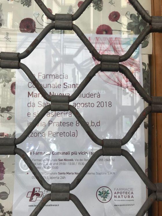 Stella (Fi) su farmacia S.Maria Nuova Firenze: perso ennesimo locale storico