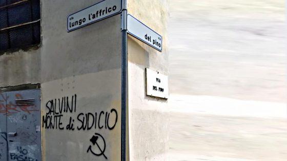 Scritte contro Ministero dell'interno, Matteo Salvini