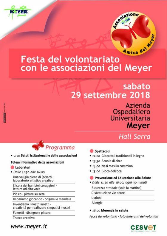 Meyer: il 29 settembre festa con le associazioni volontariato