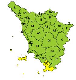 Codice giallo nel sud della Toscana e sulle isole