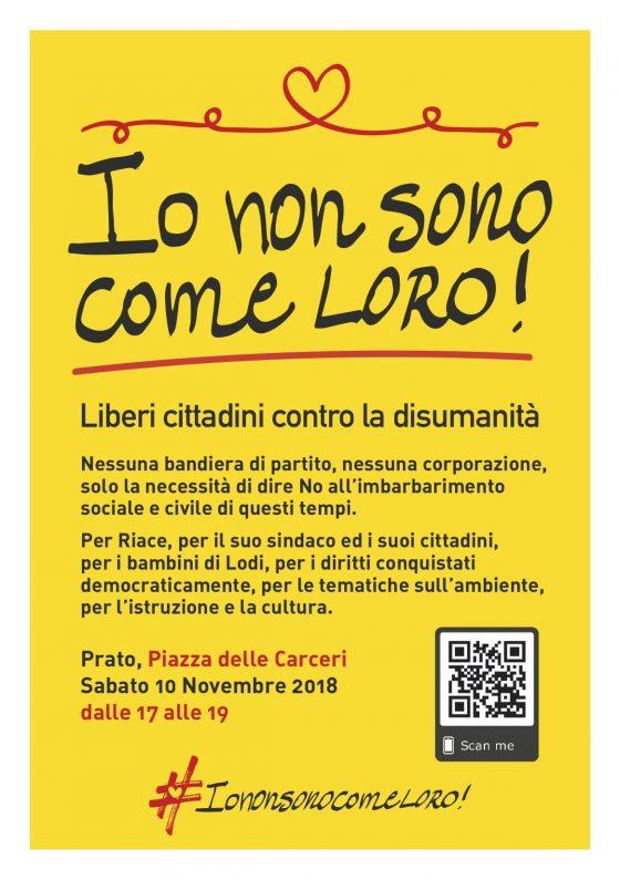 """Prato, Sabato 10 Novembre, corteo: """"Liberi cittadini contro la disumanità"""""""