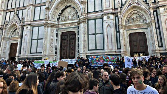 Lo sciopero per il clima del 15 marzo in p.zza Santa Croce a Firenze