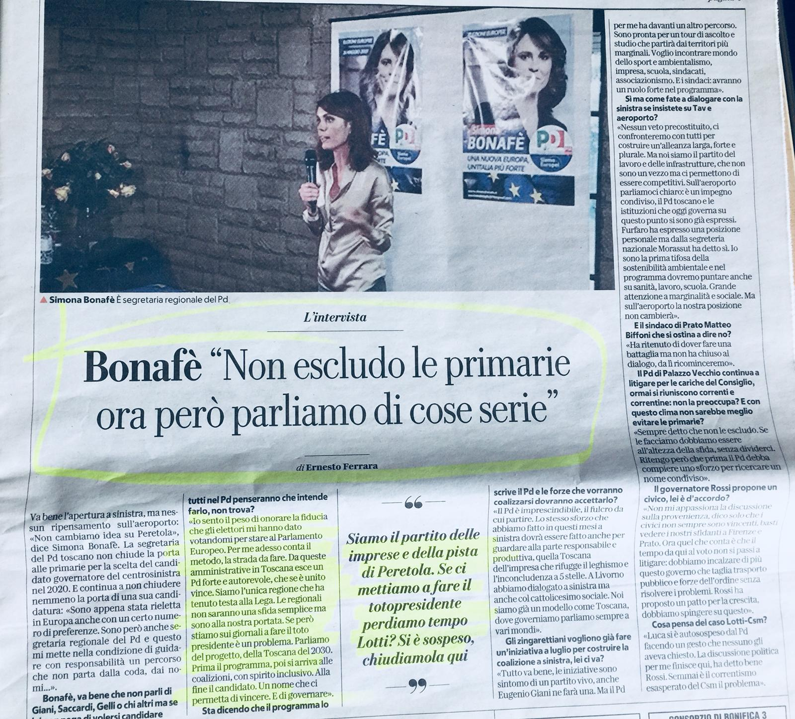 Bonafè intervista Respubblica risponde Fabiani