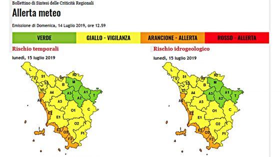 Allerta arancione meteo, lunedì in Toscana