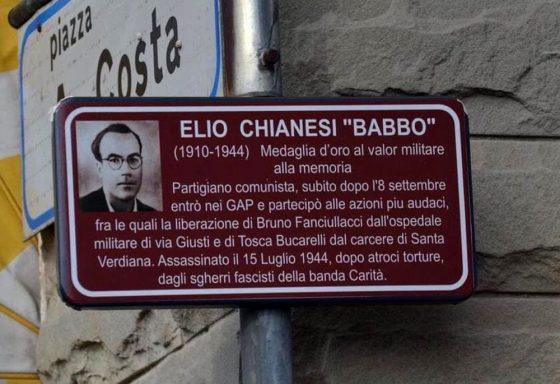 Scandicci: divelta la targa a Elio Chianesi, comandante gappista ucciso dai fascisti