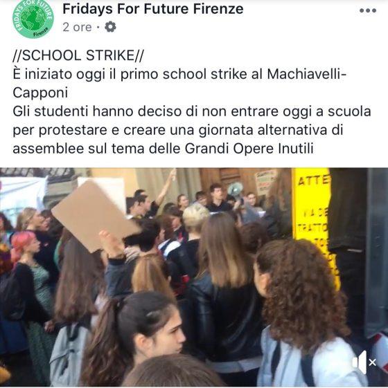 Friday for Future Firenze: studenti bloccano ingresso liceo, primo Schoolstrike