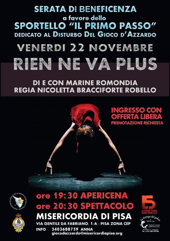 """A Pisa """"Rien ne va plus"""": spettacolo contro le ludopatie"""
