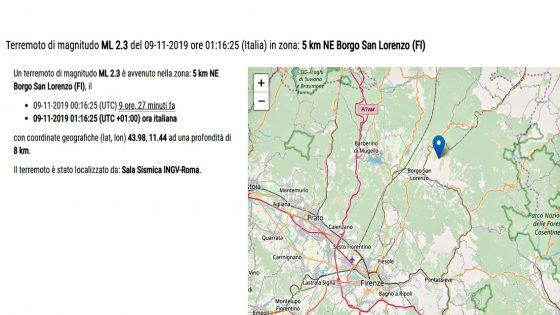 Terremoto 2.3, verifiche in Mugello dopo scossa, no danni