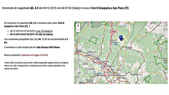 Terremoto 4.5 magnitudo in provincia di Firenze