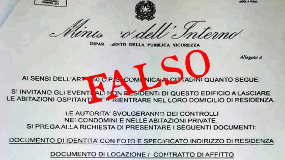 Falso volantino Ministero invita a lasciare abitazioni