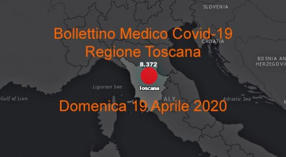 Coronavirus Report Toscana, 135nuovi casi, 19nuovi decessi
