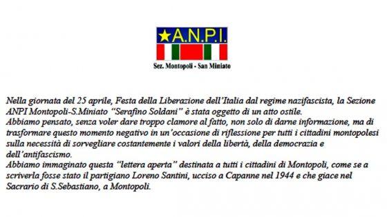 Volantini neofascisti contro ANPI affissi in provincia Pisa