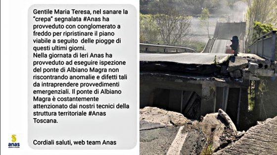 Albiano Magra, Anas scrisse 'fatta ispezione, niente anomalie'