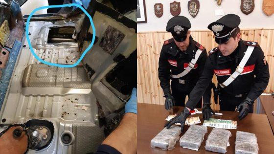 Carabinieri fermano trasportatore di caffè con 4 chili di cocaina