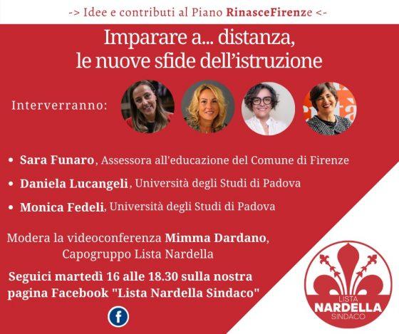 """""""Imparare a… distanza, le nuove sfide dell'istruzione"""", domani videoconferenza organizzata dalla lista Nardella"""