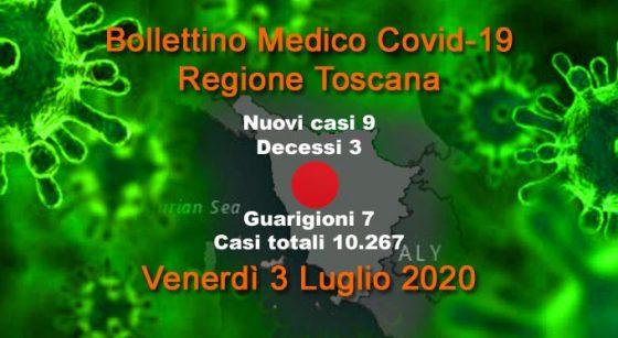 Coronavirus in Toscana: 9 nuovi casi, 3 decessi, 7 guarigioni