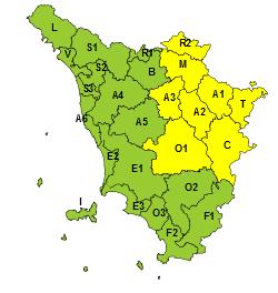 Codice giallo fino alle 20 per temporali su Toscana settentrionale e Appennino