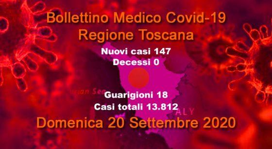 Coronavirus in Toscana, 147 nuovi casi e nessun decesso. 18 i guariti