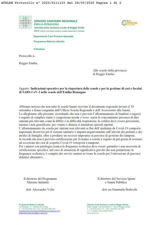IL CAFFE' SCORRETTO – 2 OTTOBRE 2020: Io non sono un virologo (ma la ASL di Reggio Emilia sì)