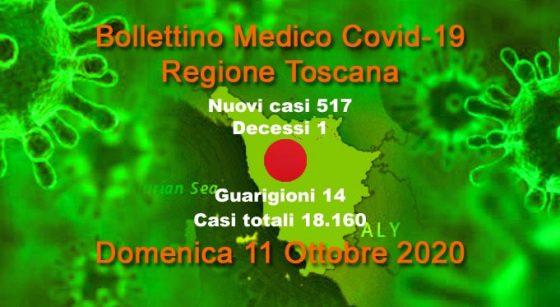 Coronavirus in Toscana: 517 nuovi casi, un decesso