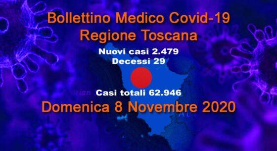 In Toscana sono altri 2479 i nuovi casi e 29 decessi