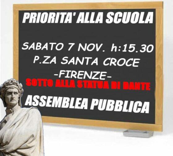 """Assemblea pubblica di Priorità alla Scuola a Firenze, """"La Regione ci incontri"""""""
