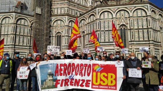 """""""No alla svendita di Toscana Aeroporti Handling"""", presidio Firenze e Pisa"""