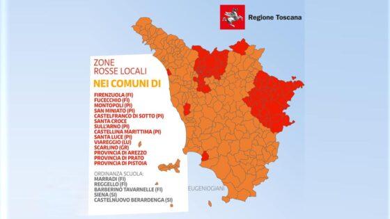 Toscana zona arancione, tre province e dieci comuni in zona rossa