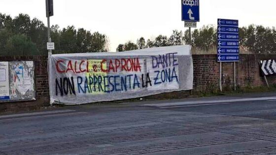 Striscione contro murale dedicato al Sommo Poeta Dante