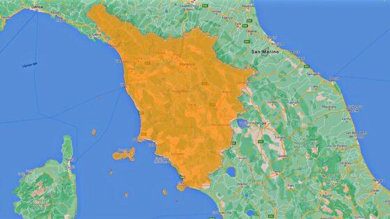 Toscana con Firenze, Prato ed il resto in zona arancione