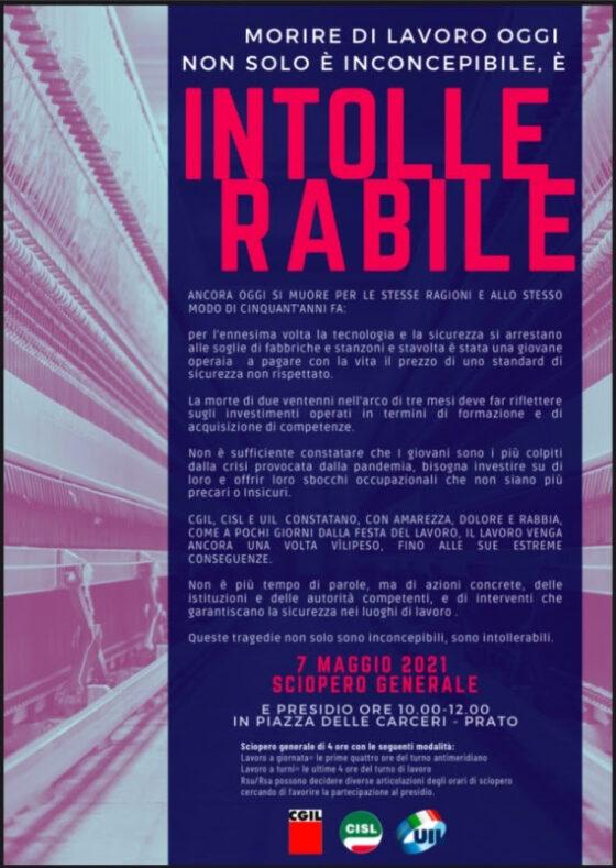 Tragedia sul lavoro, Prato si ferma: sciopero di 4 ore venerdì 7 maggio