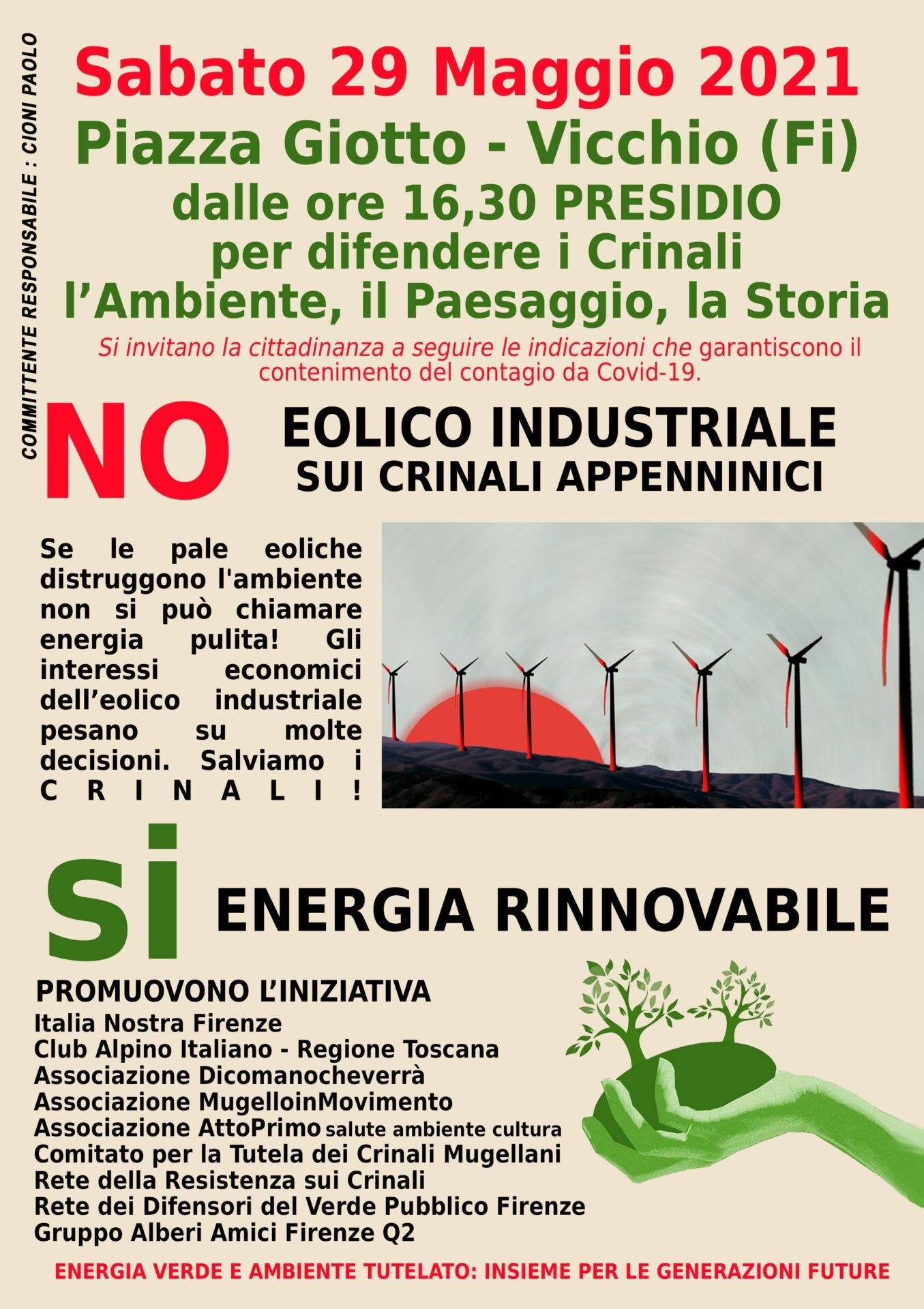 No all'impianto eolico