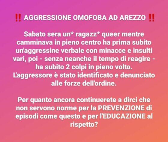 """Arezzo: """"minacce, insulti e due colpi al volto"""", aggressione omofoba, denuncia Arcigay"""