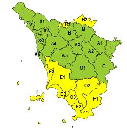 Toscana: Codice giallo per vento nelle zone meridionali e appenniniche